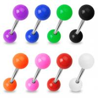 316L Steel Straight Barbell With Solid Colour Acrylic Balls
