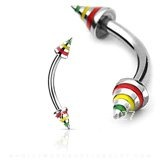 Jamaican/ Raster Stripe Curved Eyebrow Barbell W/ Cones