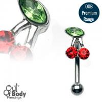Crystal Cherry 316L Steel Curved Eyebrow Barbell