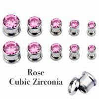 316L Steel Crystal Rose Cubic Zirconia Threaded Tunnel