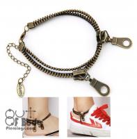 Zipper Anklet in Antique Bronze