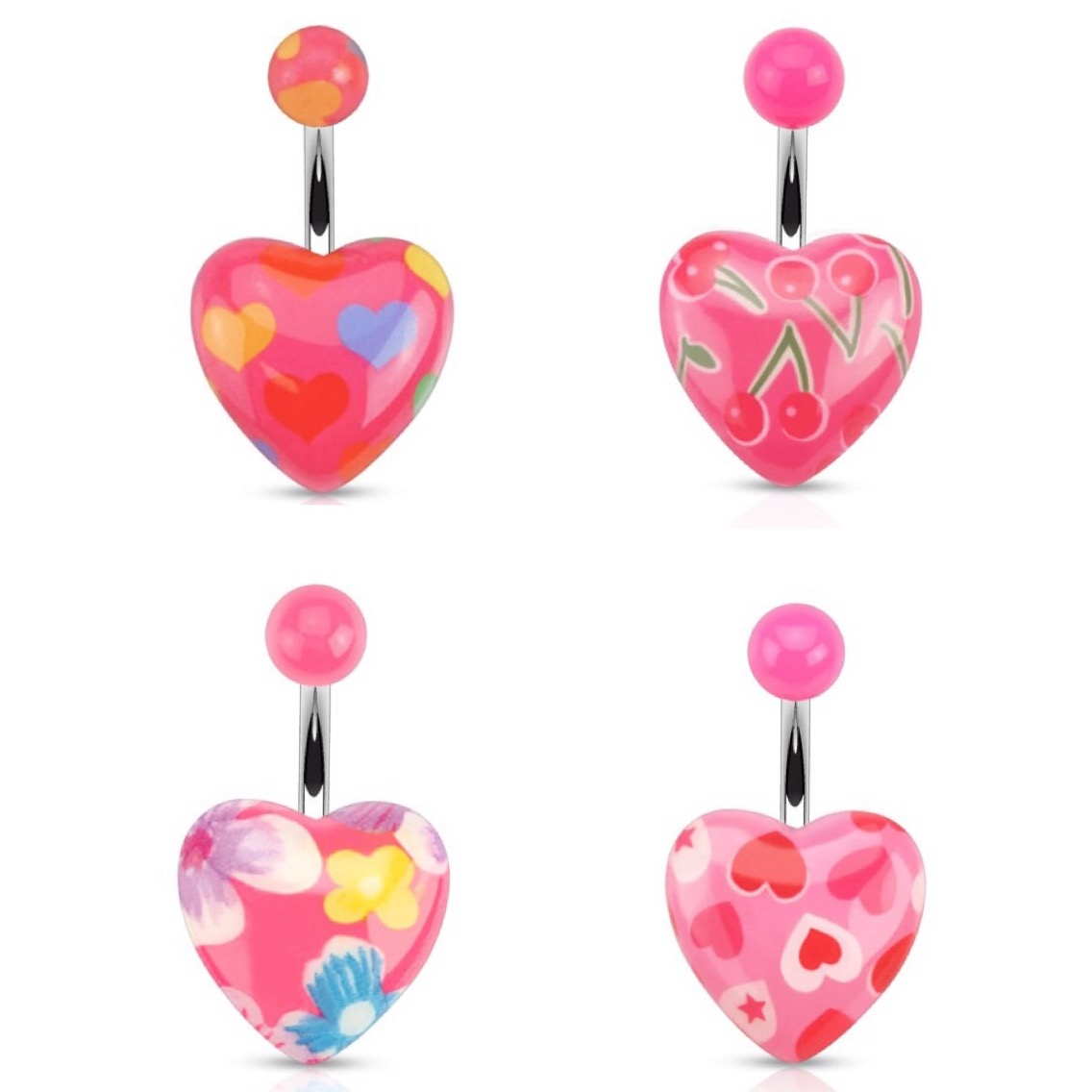 Colourful Romantic Pink Heart Print Navel Ring