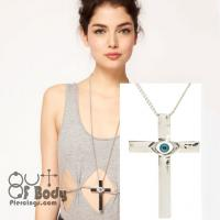 Evil Eye Silver Cross Lucky Amulet Necklace