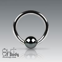 316L Surgical Steel Hematite Plated Captive Bead Ring