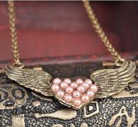 Pink Pearl Winged Heart Necklace