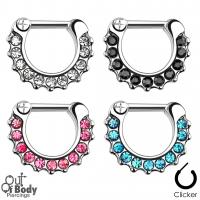Septum Clicker Hinged Multi Crystal Paved Nose Ring