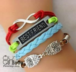 Multi Layer Colourful BF, Infinity & Owl Wristband