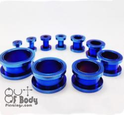 316L Steel Threaded Tunnel Blue Titanium Anodised