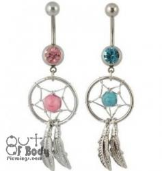Dream Catcher Web Belly Ring With Turquoise & CZ