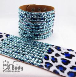 Leopard Print Blue Wristband With Blue Rhinestones