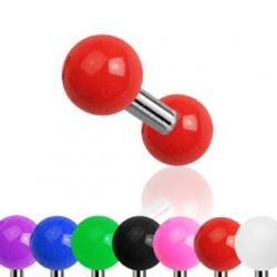 Cartilage/ Tragus Barbell Solid Colour Acrylic Ball 316L Steel