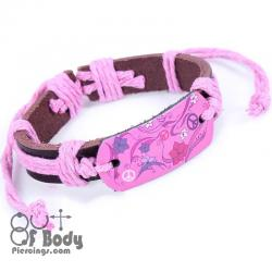 Pink Flower Leather Wristband