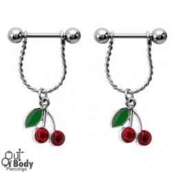 Dangling Red Crystal Cherry Nipple Ring