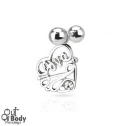 Cartilage/ Helix Barbell W/ Dangling CZ Set Love Heart Charm