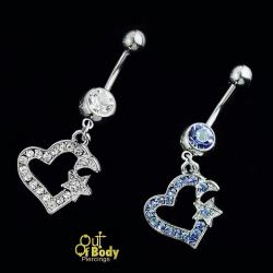 Crystal Paved Heart With Moon & Star Belly Ring