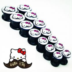Acrylic Black Threaded Tunnel W/ Kitty Mustache Logo