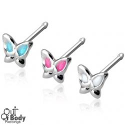 .925 Sterling Silver 20G Coloured Winged Butterfly Nose Stud