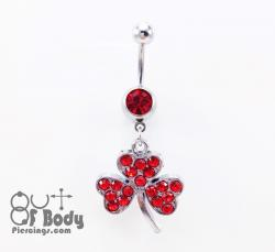 Red Crystal Clover Belly Ring