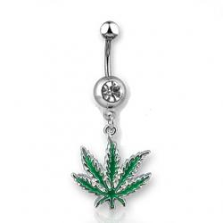Pot Leaf W/ Green CZ Dangling Belly Ring