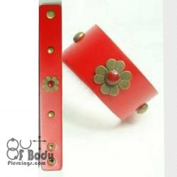 Red Wristband With Flower & Rivets