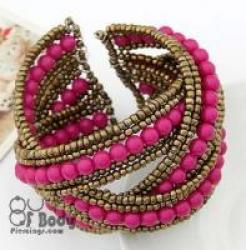 Handmade Pink Bead Wrap Bangle