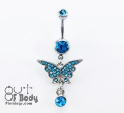 Aqua Crystal Paved Butterfly W/ Dangle Gem Belly Ring