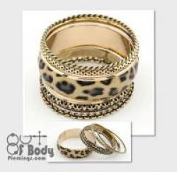 Multilayer Bangle Set In Gold W/ Brown Leopard Print