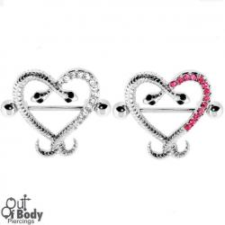 Crystal Paved Serpent Heart Nipple Ring