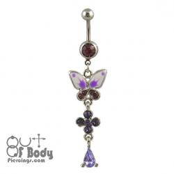 Purple Crystal & Enamel Butterfly Belly Ring