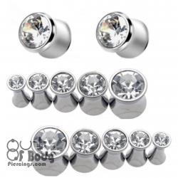 316L Surgical Steel Saddle Plug W/ Clear CZ Gem Top