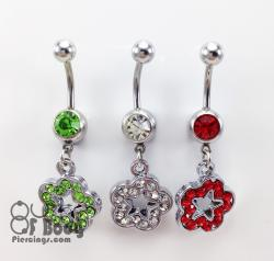 Star Flower Crystal Paved Belly Ring