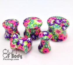 Acrylic Flower Fusion Print Saddle Fit Plug