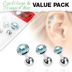 Cartilage/ Tragus Flat Top Triple Aqua Gem Barbell Value Pack