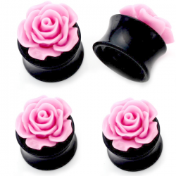 Acrylic Black Saddle Plug With Pink Rose Top
