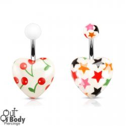 Colourful Romantic White Heart Print Navel Ring