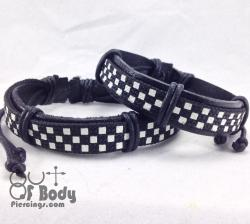 Black & White Checked Wristbands