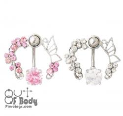 Crystal Butterfly Vine Reverse Drop Belly Ring
