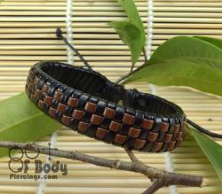 Brown & Black checked Leather Wristband