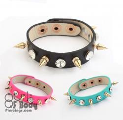 Crystal & Gold Stud Leather Wristbands