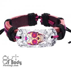 Sugar Skull Learther Wristband