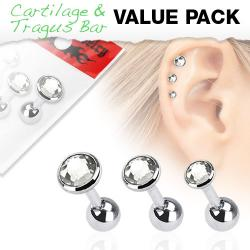 Cartilage/ Tragus Flat Top Triple Clear Gem Barbell Value Pack
