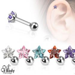 Cartilage/ Tragus Claw Set Star CZ Gem Top 316L Steel Barbell