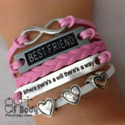 Multi Layer Pink BF, Infinity, Hearts & Quote Wristband
