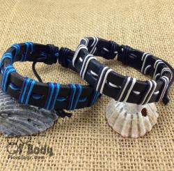Black Leather and Blue/White Cord Wraped Wristbands