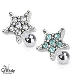 Cartilage/ Tragus Barbell With Multi Gem Paved Star 316L Steel