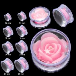 Acrylic Domed Clear Saddle Fit Plug W/ Pink Rose & Stars