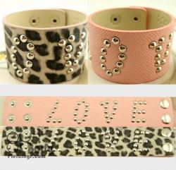 Love Logo Rivet Wristband In Pink Or Animal Print