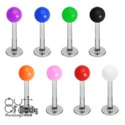 316L Steel Labret W/ Solid Colour UV Acrylic Ball