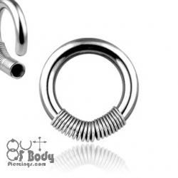 316L Steel Captive Spring Bead Ring Septum/ Ear Hoop