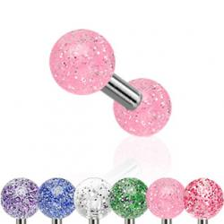 Cartilage/ Tragus Barbell Ultra Glitter Acrylic Ball 316L Steel